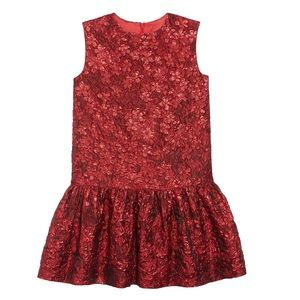 Oscar de la Renta red floral drop waist dress 2T 6
